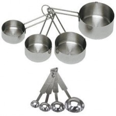 Stainless Steel Measuring Cups And Measuring Spoons 8-Piece Set, 4 Cups And 4 spoons