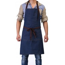 "Adjustable Bib Apron with 3 Pockets - Denim Jean Kitchen Aprons for Women and Men 32 x 27"""