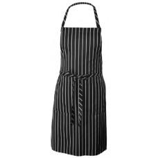 Chef  Bib Apron, Black/White Chalk Stripe, 34.25-Inch Length by 27-Inch Width