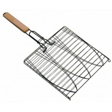 33 X 37 CM Non-Stick Fish Grilling Basket Wood Handle Barbecue Fish Grilled Folder Clip BBQ Meshes Camping Grill Rack Single Fish Basket