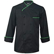 Long Sleeve Black Chef Jacket with Neon Green Piping
